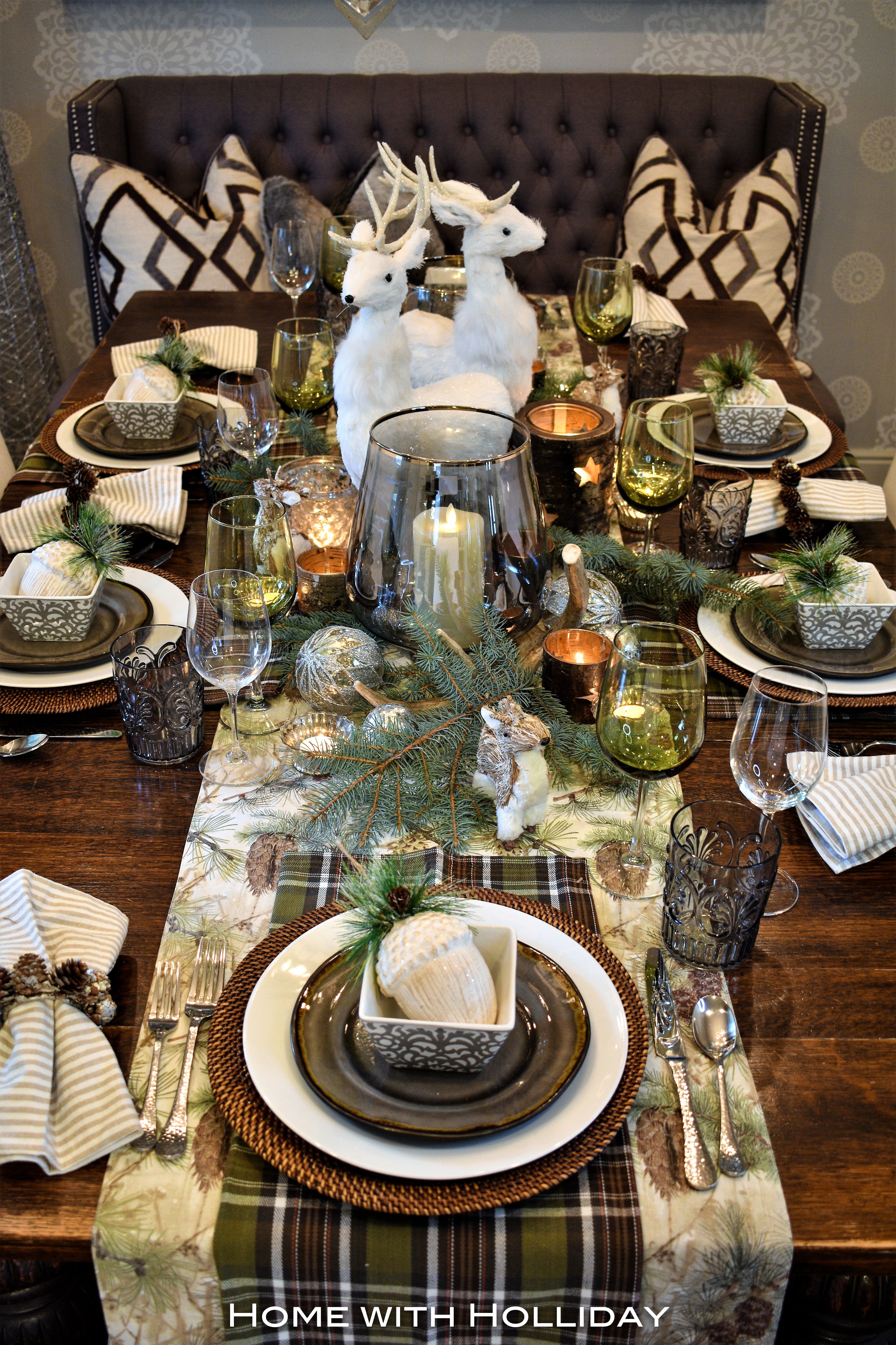 Being born and raised in Texas I love introducing a \u201ctouch of Texas\u201d into my table settings throughout the year. Christmas is certainly no exception! & Rustic Winter Christmas Table Setting - Home with Holliday