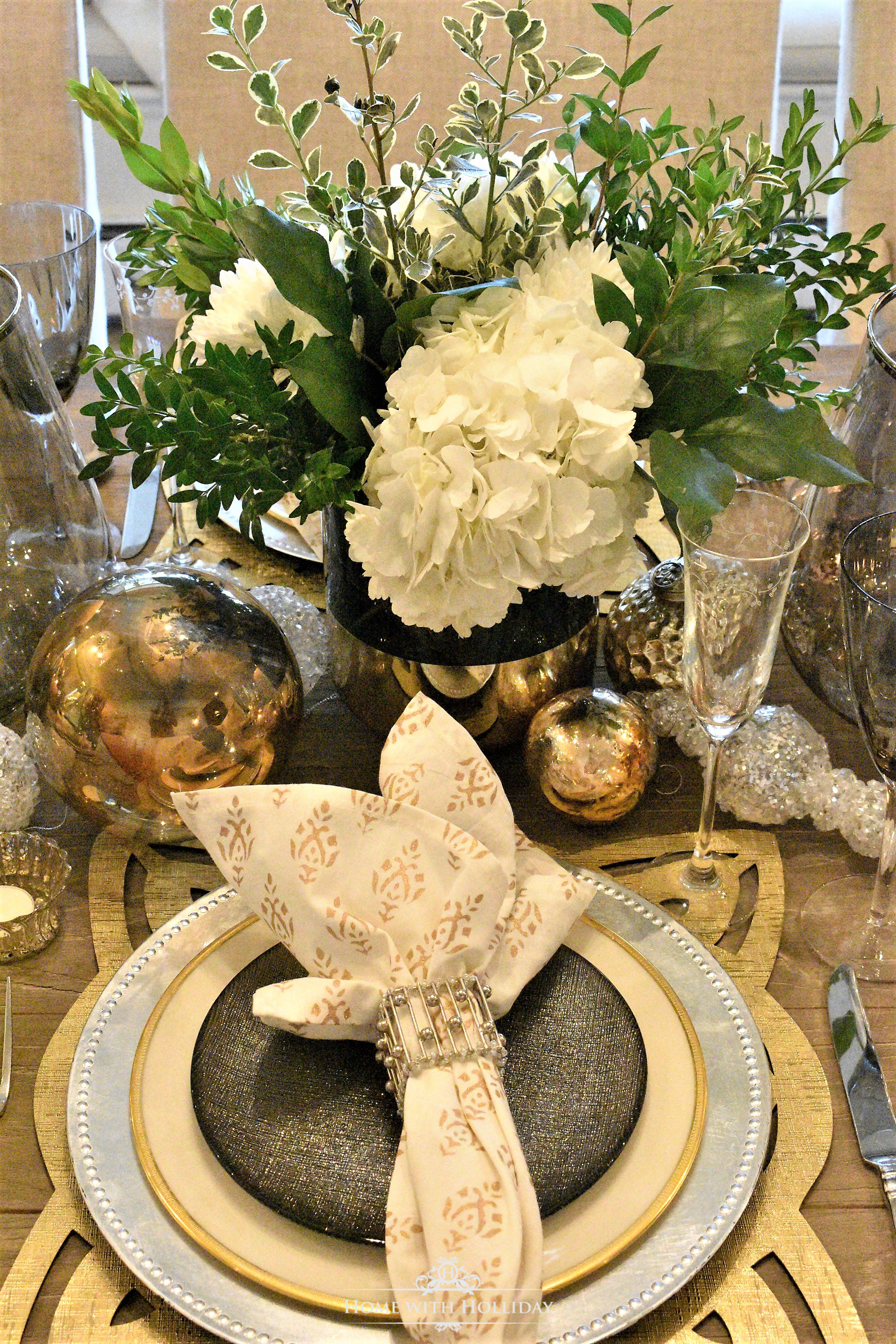 Gold and Silver Table Setting - New Yearu0027s Eve or Christmas - Home with Holliday & Gold and Silver Table Setting - New Yearu0027s Eve or Christmas - Home ...