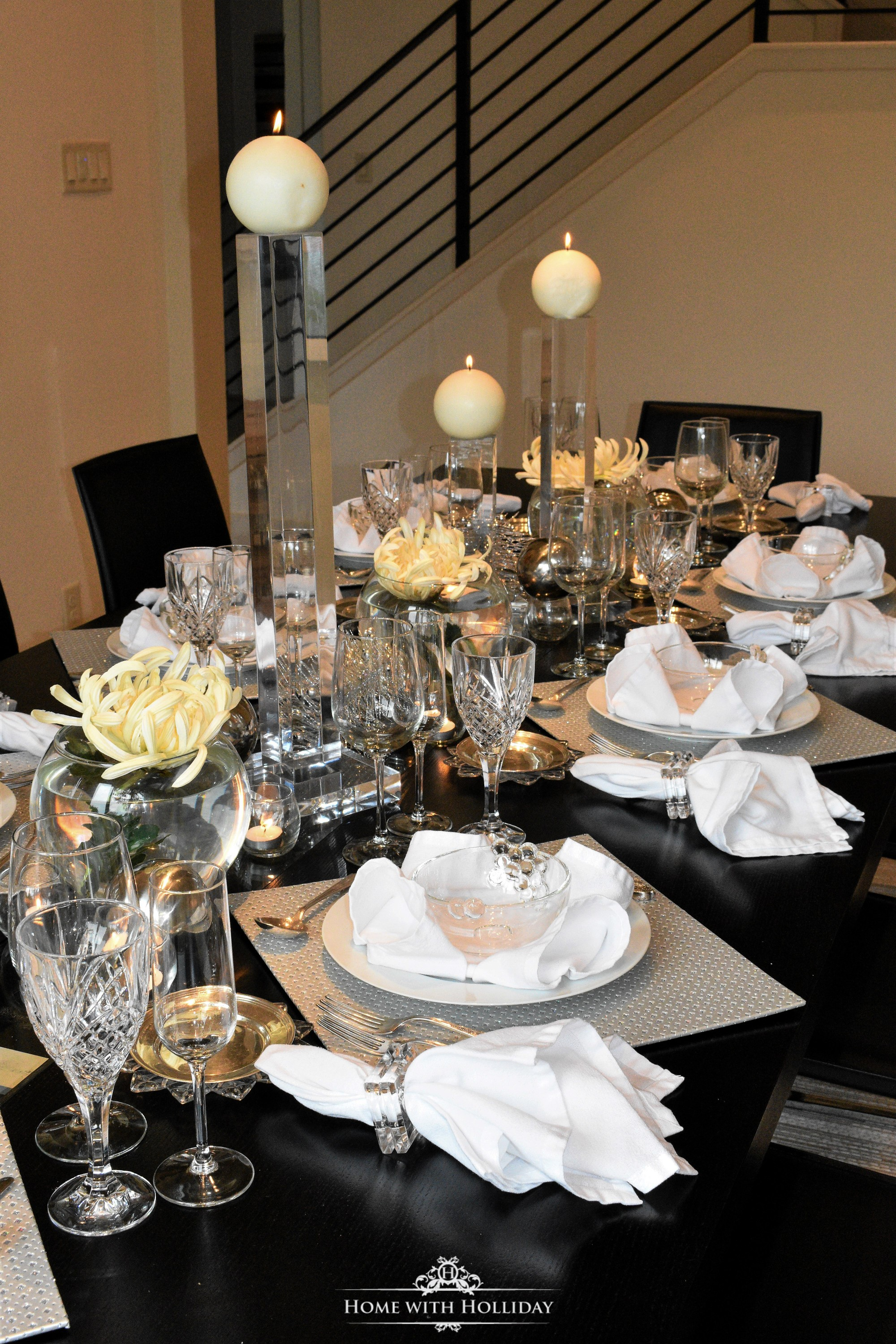 & Silver and White New Yearu0027s Eve Table Setting - Home with Holliday