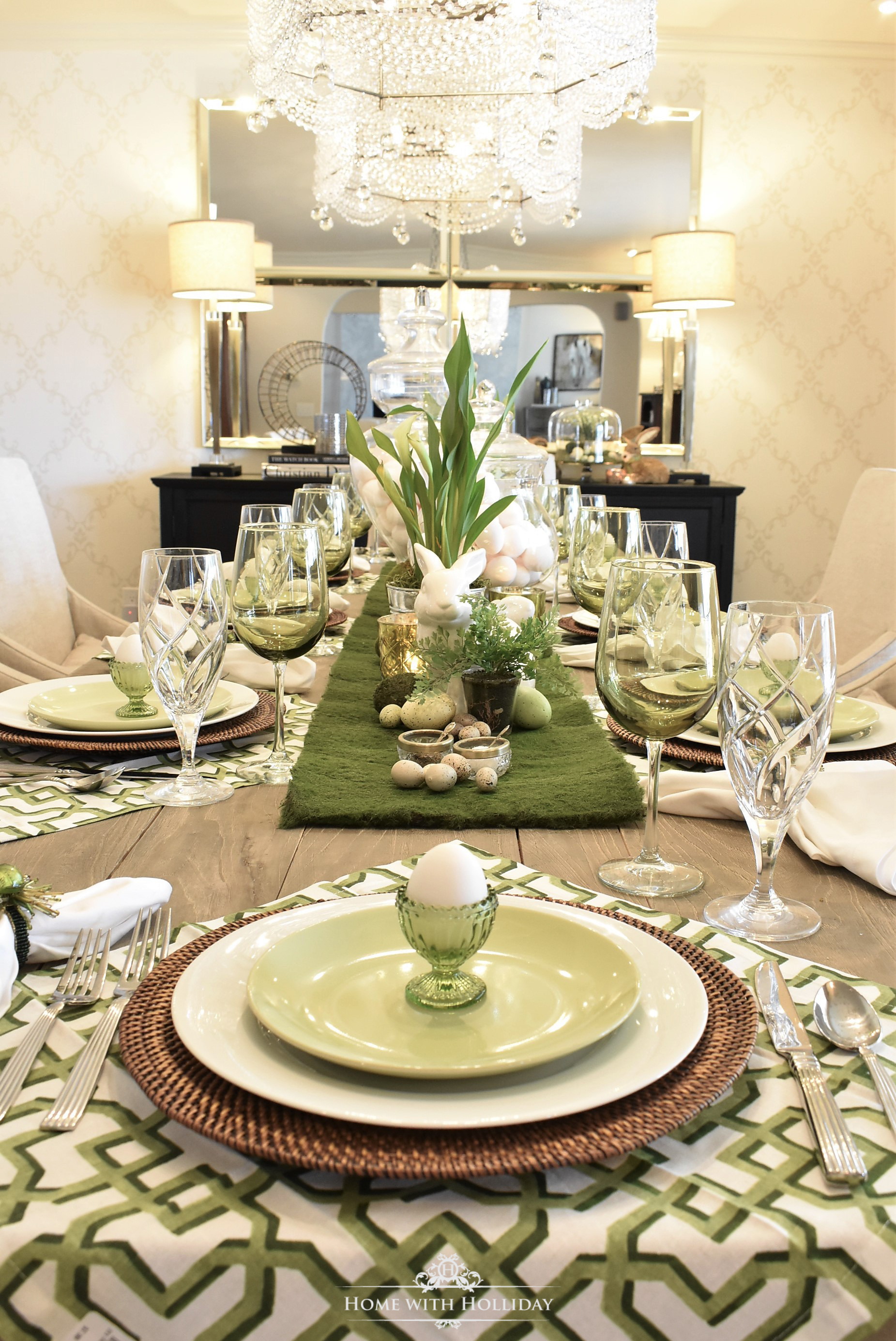 Happily more Easter decorating is going on around here! We host a big group on Easter Sunday so I plan ahead for weeks for my Easter table setting . & Green and White Easter Table Setting - Home with Holliday