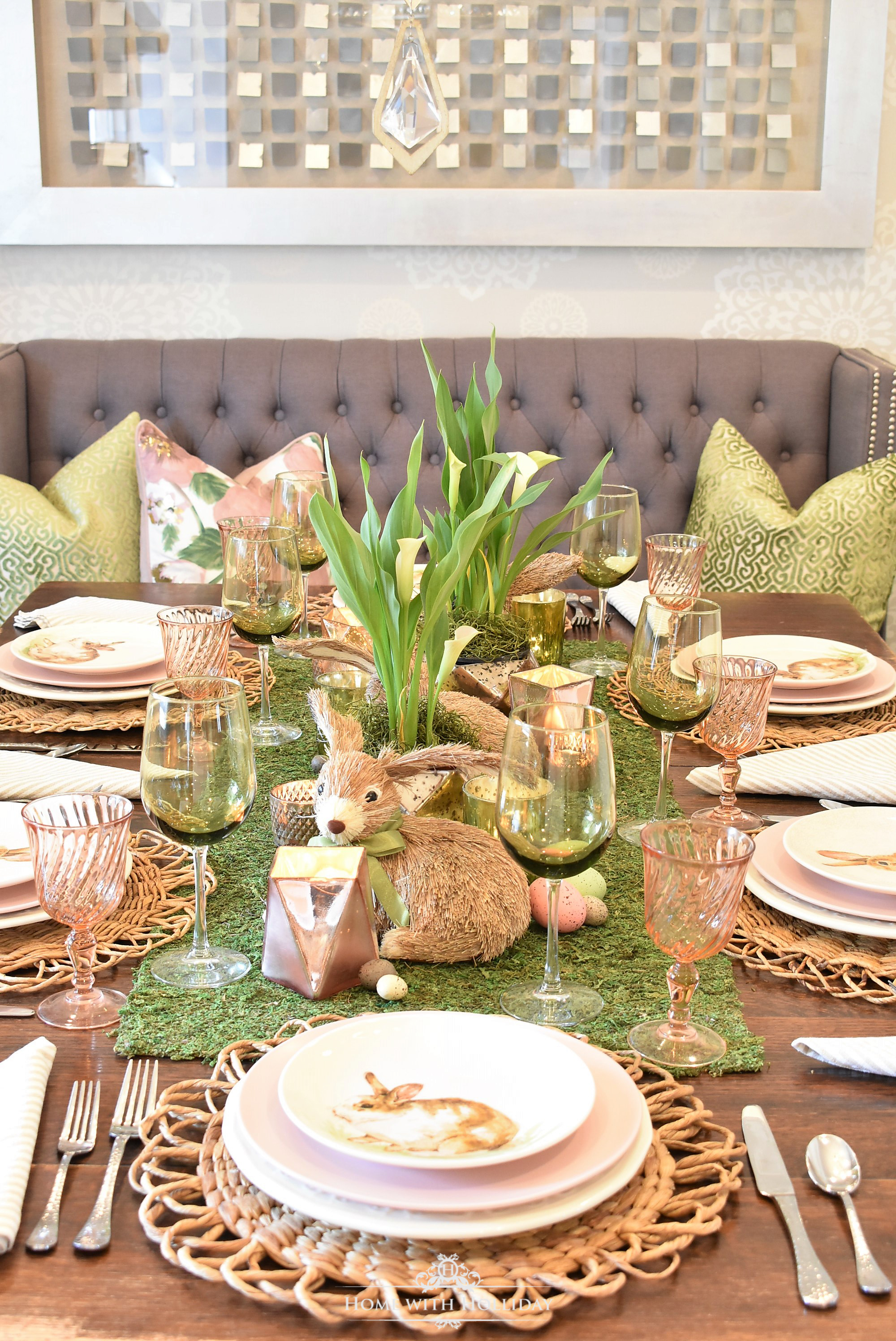 Easter is only about three weeks away so lots of planning is going on around here! We host a large group with kids of all ages (this year ranging from age ... & Green and Blush Pink Easter Table Setting - Home with Holliday
